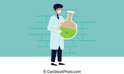 mâle, tube, laboratoire, flacon, scientifique