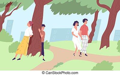 mâle, vecteur, délassant, urbain, city., park., illustration, temps, gens, dépenser, plat, loisir, caractères, activité, jeune, femme, marche, nature., extérieur, apprécier