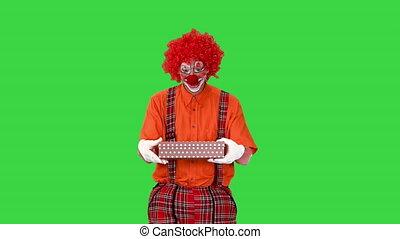 mâle, vert, heureux, chroma, clown, key., tenue, marche, présent, écran