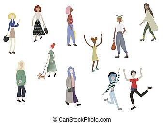 mâle, white., marche, shopping., isolé, chien, debout, foule, gens, femme, caractères, courant, danse