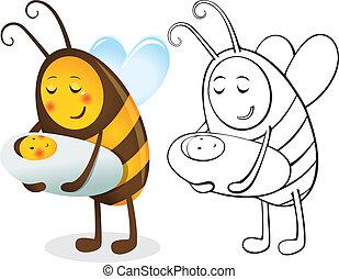mère, abeille, enfant