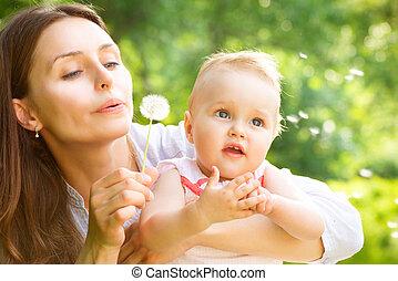 mère, bébé, outdoors., nature, beau