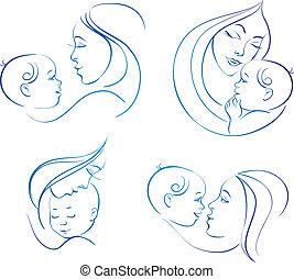 mère, baby., linéaire, ensemble, illustrations, silhouette