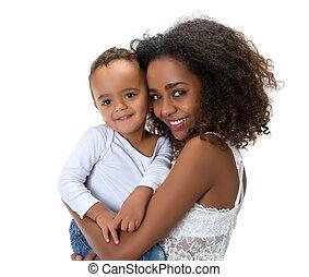 mère, enfantqui commence à marcher, africaine, heureux