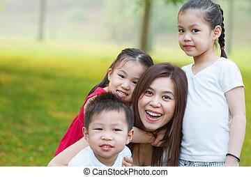 mère, enfants, asiatique