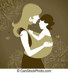 mère, fronde, bébé, silhouette, beau