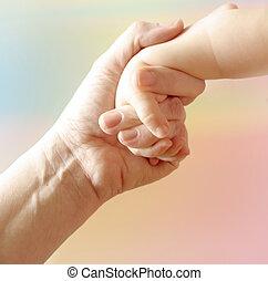 mère, main, enfant