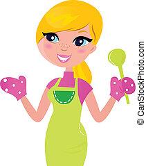 mère, nourriture, isolé, préparer, vert, sain, cuisine, blanc