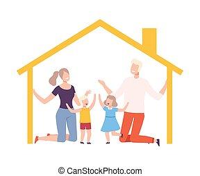 mère, père, intérieur, heureux, vecteur, gosses, leur, maison, illustration, cadre, maison, famille