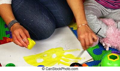 mère, peinture, enfant