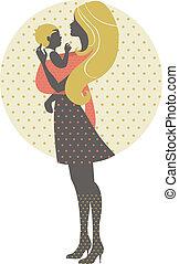 mère, retro, bébé, illustration, fronde, silhouette, beau