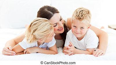 mère, soeur, mignon, garçon, blonds, sien