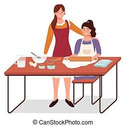 mère, vecteur, cuire, fille, enseignement, cuisinier