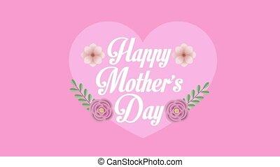 mères, fleurs, lettrage, heureux, coeur, jour