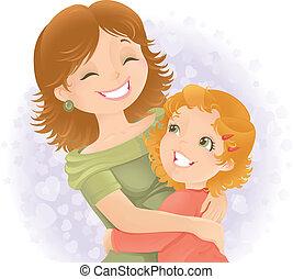 mères, illustration., salutation, jour