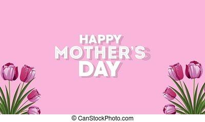 mères, lettrage, heureux, jardin, jour, cœurs