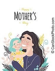 mères, maman, sourire, étreindre, carte, salutation, jour, girl