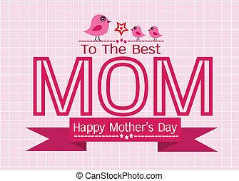 mères, salutation, ton, conception, maman, jour, carte, heureux