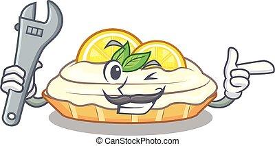 mécanicien, citron, délicieux, sucre, fait maison, gâteau, mascotte