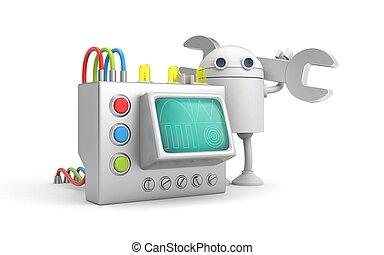 mécanicien, device., robot, illustration, 3d