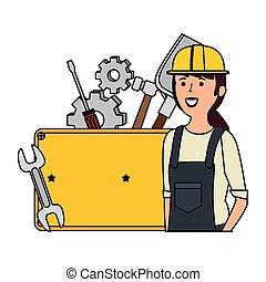 mécanicien, ensemble, outils, jeune, femme