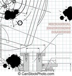 mécanique, ingénierie, illustration., arrière-plans, sujets, technique, engineering.
