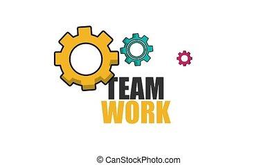 mécanique, travail, coloré, engrenage, équipe