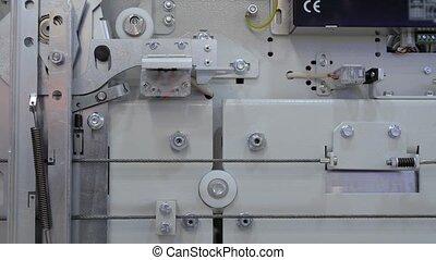 mécanisme, -, haut, ascenseur, exposition, porte ascenseur, fermer, ouverture, fin