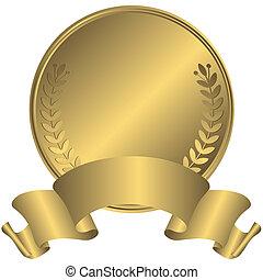 médaille, or, grand, (vector)