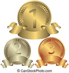 médailles, argent, bronze, (vector), or