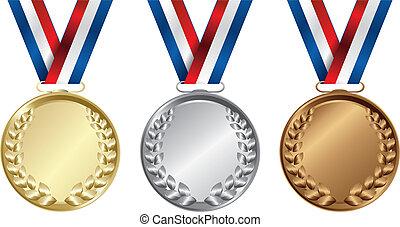 médailles, trois, or, vainqueurs, argent, bronze