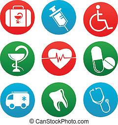médecine, éléments, fond, icônes