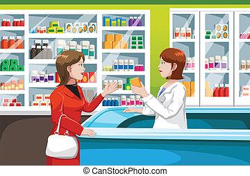 médecine, achat, pharmacie