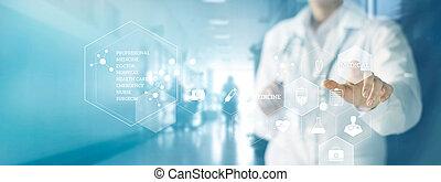 médecine, concept, réseau, docteur, monde médical, moderne, écran, virtuel, arrière-plan., connexion, toucher, stéthoscope, interface, technologie, hôpital, icône