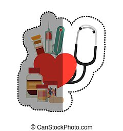 médecine, conception, monde médical, stéthoscope, soin