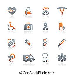 médecine, &, lande, soin, icônes
