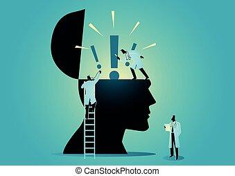 médecins, équipe, ou, tête, exclamation, vérification, marque, scientifiques, icône, humain