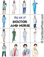 médecins, ensemble, monde médical, nur, grand