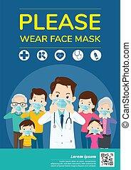 médecins, membres, s'il vous plaît, usure, campagne, masque de protection, famille