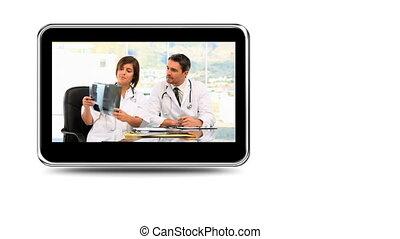 médecins, montage, rayon x, examiner