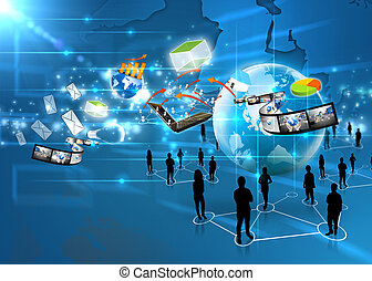 média, équipe, social, business
