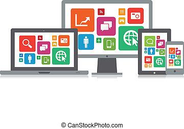 média, app, technologie