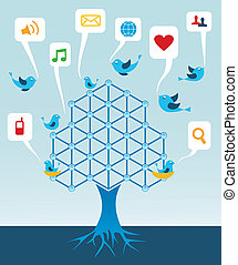 média, arbre, réseau, social