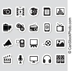 média, autocollants, icônes