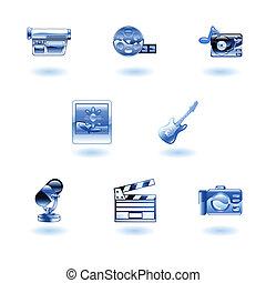 média, brillant, icônes