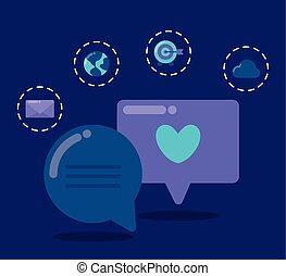 média, bulles, social, parole, icônes