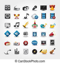 média, collection musique, icônes