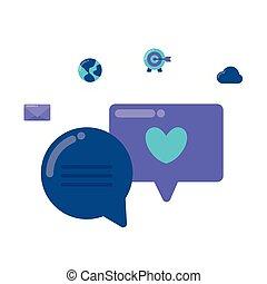 média, commercialisation, parole, bulles, social