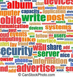 média, concept, étiquette, nuage, social