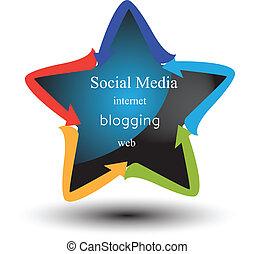 média, concept, gestion réseau, social